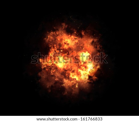 bright explosion flash on a black backgrounds. fire burst - stock photo