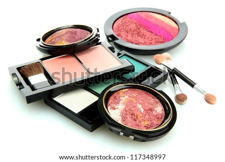 bright eye shadows and rouge with applicator, isolated on white - stock photo