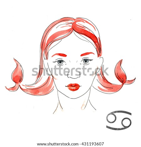 bright fashion illustration, girl with red lips,zodiac sign, watercolor illustration of woman,Cancer - stock photo