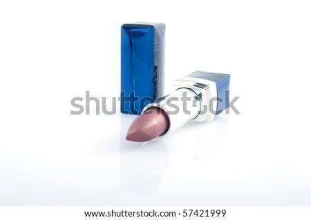 Bright feminine pomade isolated on  white background - stock photo
