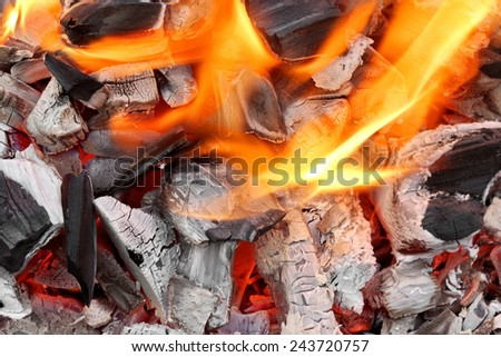 Bright Flames of Fire Background and Texture - stock photo