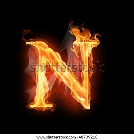 bright flamy symbol on the black background - stock photo