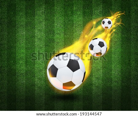bright flamy symbol on the soccer field background  - stock photo