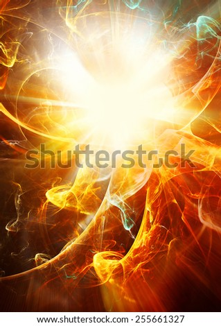 Bright flash with color smoke. Abstract glowing futuristic background with lighting effect for creative design. Shiny decoration for wallpaper desktop, poster, cover booklet, flyer. Fractal art - stock photo