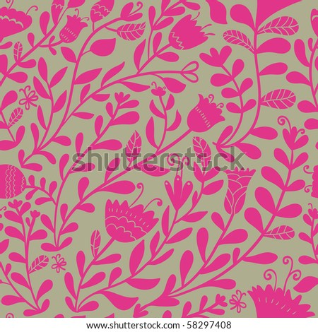 Bright floral seamless pattern - stock photo