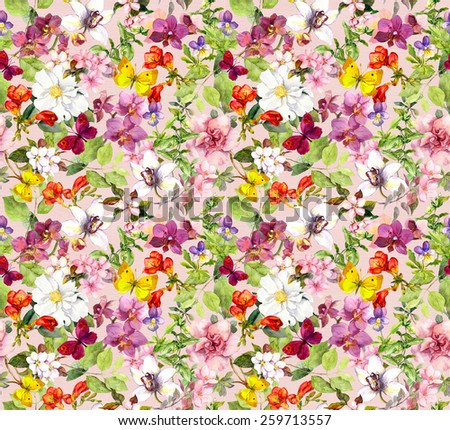 Bright flowers and butterflies - colorful garden. Floral wallpaper. Watercolour - stock photo