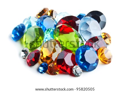 bright gems isolated on a white background - stock photo