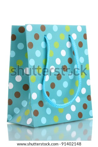 bright gift bag isolated on the white - stock photo