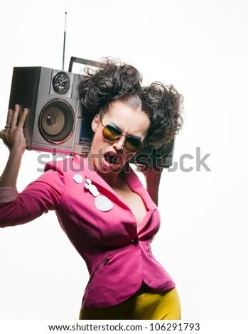 Bright girl listening to music - stock photo