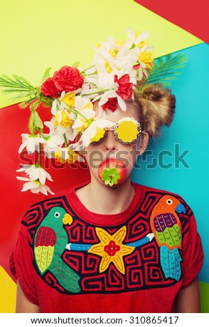 Bright girl with strawberry - stock photo