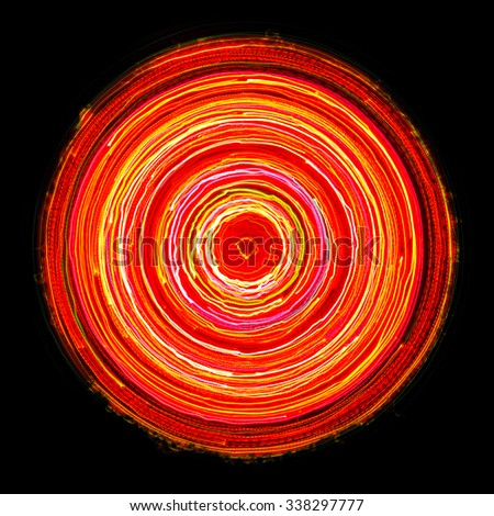 Bright Glowing Electric Circle on Black Background  - stock photo