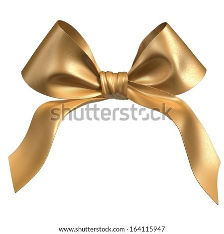 bright gold bow - stock photo
