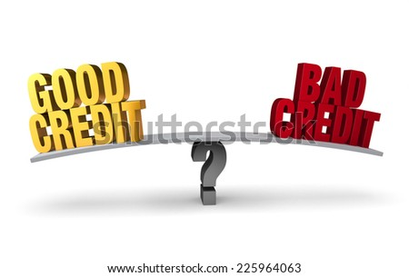 """Bright, gold """"GOOD CREDIT"""" and red """"BAD CREDIT"""" sit on opposite ends of a gray board which is balanced on a gray question mark. Isolated on white. - stock photo"""