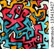 bright graffiti seamless pattern with grunge effect (raster version) - stock photo