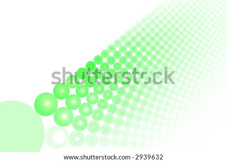 Bright green abstract balls large background over white with copyspace - stock photo