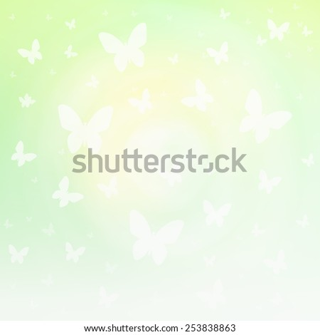 Bright green and yellow spring and Easter background with blurry butterfly shape illustration. - stock photo