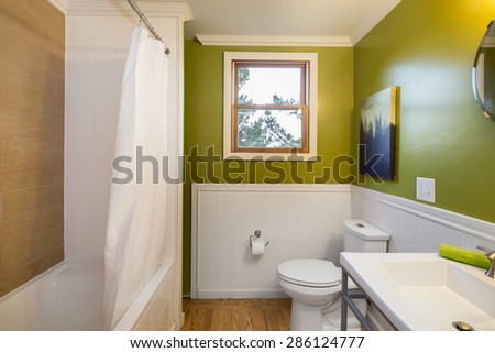 Bright Green Bathroom interior with vanity cabinet, shower and mirror - stock photo