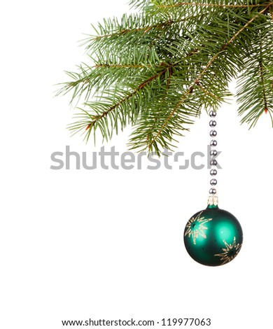 Bright green Christmas tree ball with curly ribbons isolated on the white background - stock photo