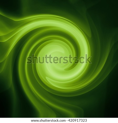 bright green circle or swirl on black background - stock photo