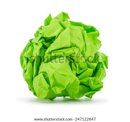 bright green crumpled paper on a white background - stock photo