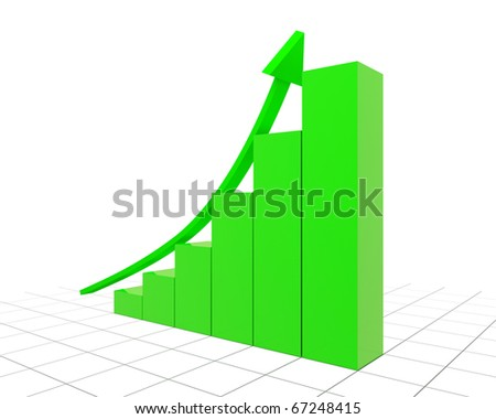 bright green finance graph an arrow specifying upwards isolated on white background - stock photo