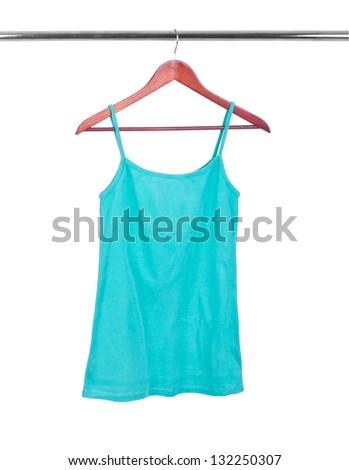 bright green singlet on hanger isolated on white - stock photo