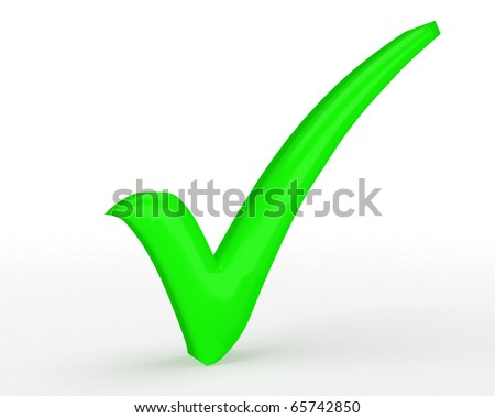 bright green tick with slight shadow isolated on white background - stock photo