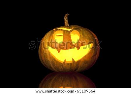 bright halloween pumpkin isolated on black - stock photo