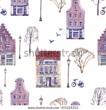Bright hand drawn seamless pattern with beautiful houses, lamps, bicycles, birds and trees on a white background. Watercolor painting - stock photo