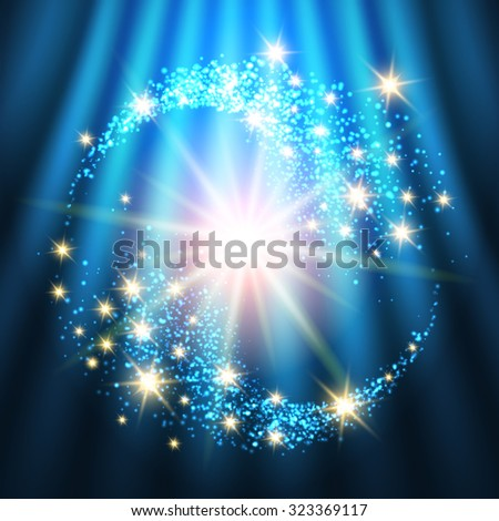 Bright Holiday Background With Glowing Stars and Lights. Colorful illustration - stock photo