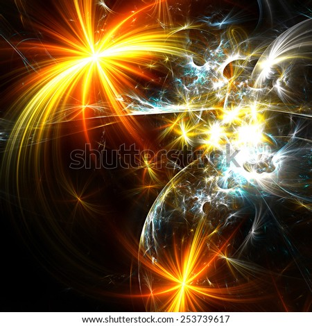Bright holiday fireworks. Abstract sparkle stars with lighting effect. Beautiful dynamic color background for a night Christmas disco party. Digital glowing artwork for creativity design. Fractal art - stock photo