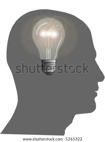 Bright Idea Raster Illustration - stock photo