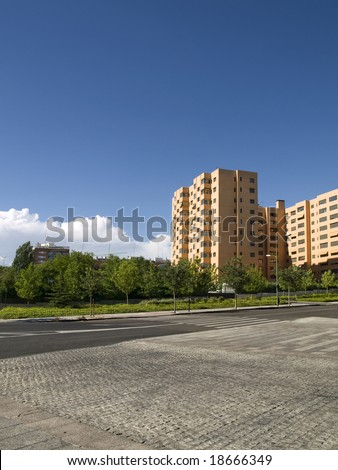 Bright image of luxury apatment buildings - stock photo