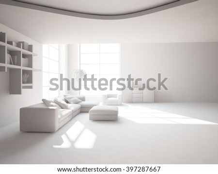 bright interior design of living room with grey furniture - 3d illustration - stock photo