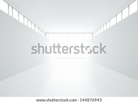 bright interior with big window - stock photo