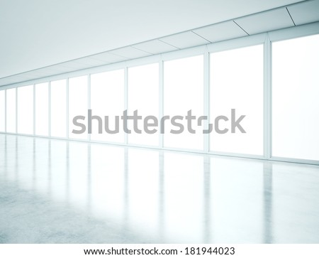 Bright interior with large windows - stock photo