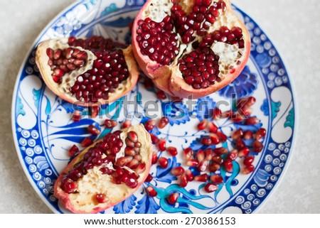 bright juicy ripe pomegranate flavored - stock photo
