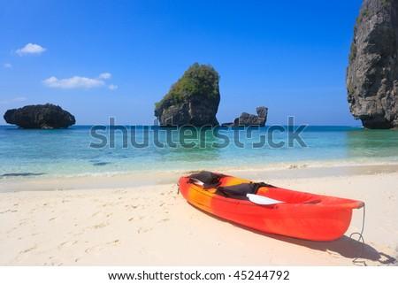 Bright kayak in a tropical lagoon. Phi phi island - stock photo