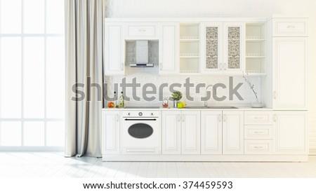 Bright kitchen interior 3D render - stock photo