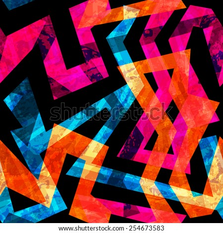 bright labyrinth seamless pattern with grunge effect (raster version) - stock photo