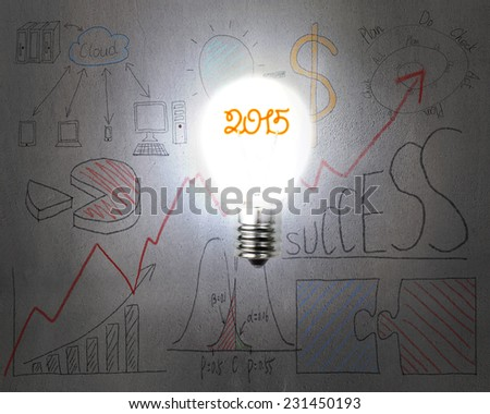 bright 2015 light bulb illuminated dark doodles wall with business concept graph background - stock photo