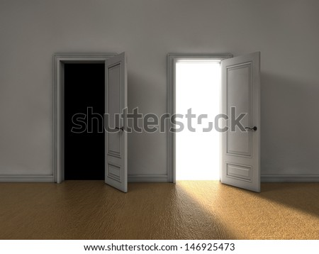 Bright light coming from one door and darkness from the other - stock photo