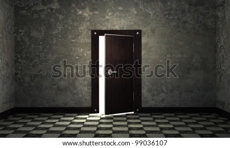 bright light through an open door in empty room 3d background - stock photo
