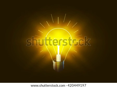 Bright lighting bulb with golden light in the darkness, conceptual illustration - stock photo