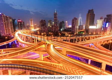 bright lights overpass in shanghai at night - stock photo