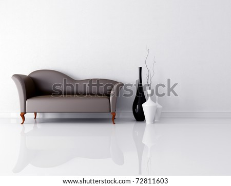 bright living room with fashion brown couch - rendering - stock photo