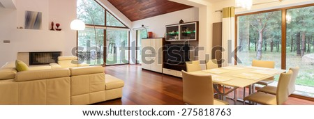 Bright living room with the view at the garden - stock photo