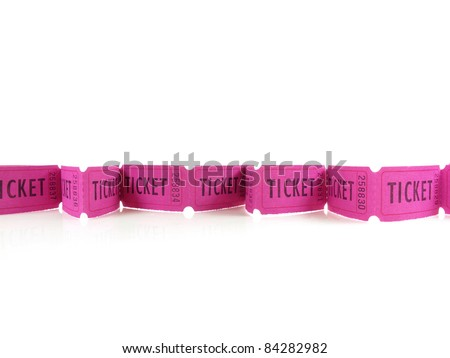 Bright magenta tickets in a row on white - stock photo