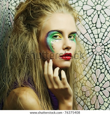 bright make up and bright colore of eyeshadow - stock photo
