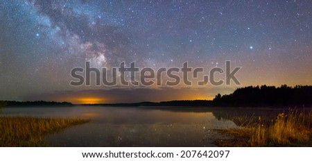 Bright Milky Way over the lake at night - stock photo